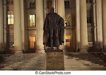 Departamento de Tesorería Albert Gallatin estatua de Washington