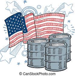 dependencia, norteamericano, bosquejo, aceite