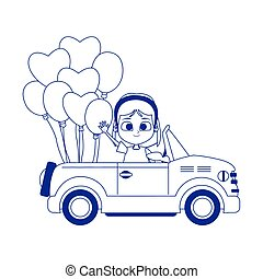 deporte, coche, globos, caricatura, niña