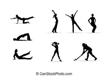 deporte, siluetas, mujer, condición física