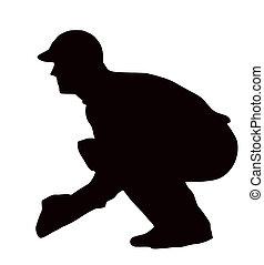 deporte, -, wicket-keeper, se agachar, silueta