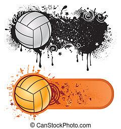Deportes de voleibol y tinta grunge