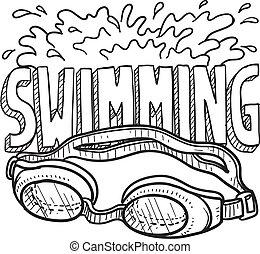 deportes, natación, bosquejo