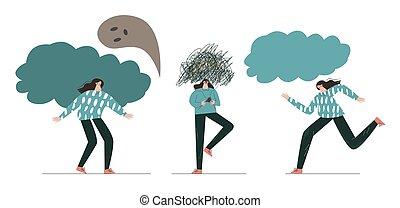 depresión, conjunto, estresante, mind., carácter, disorder., mental, problema, comportamiento, síntomas
