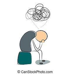 deprimido, muchos, pensamientos, hombre