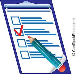 derecho, verificar, ilustración, vector, pensil, blanco, respuesta