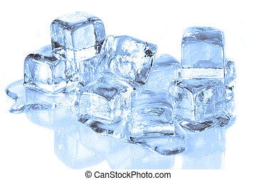 derretimiento, cubos, superficie, hielo, reflexivo, fresco