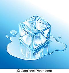 Derretir cubo de hielo azul