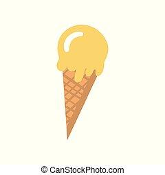 Derretir helado en un vector de ilustración de gofre cono