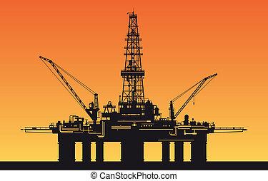 Derrick de petróleo en el mar