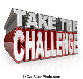 desafío, iniciativa, toma, palabras, acción, 3d