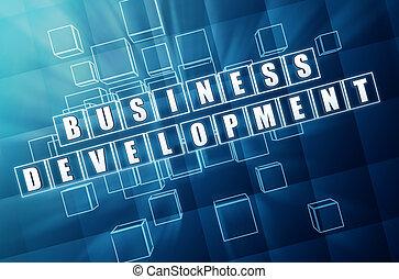 desarrollo, azul, cubos, empresa / negocio, vidrio