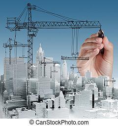 desarrollo, concepto, edificio
