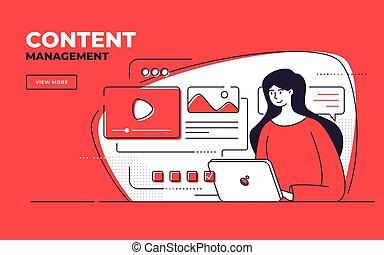 desarrollo, estilo, sitio web, plano, dirección, seo, ilustración, vector, contenido