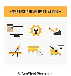 desarrollo, iconos, vector, diseño, plano, tela