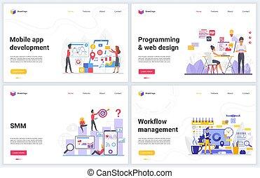 desarrollo, móvil, revelado, ilustraciones, aplicaciones, app, tecnología, creativo, dirección, programación, smm, vector, sitio web, workflow, interfaz, seo