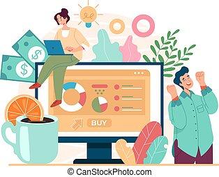 desarrollo negocio, caricatura, vector, concept., inversión, proyecto, nuevo, fresco, estrategia, gráfico, ilustración, plano, diseño