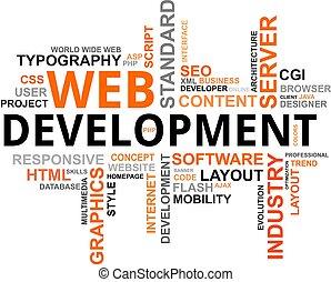 desarrollo, palabra, -, nube, tela