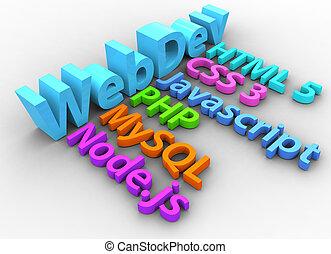 desarrollo, tela, html, herramientas, sitio