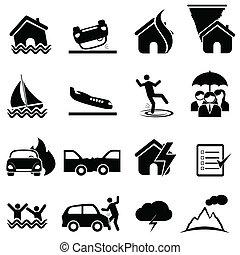 desastre, conjunto, seguro, icono