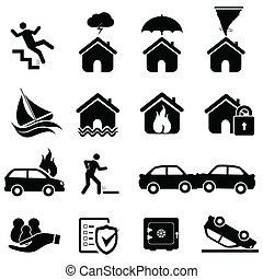 desastre, seguro, iconos