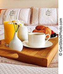 desayuno, habitación de hotel, cama