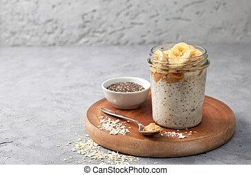 desayuno, harina de avena, durante la noche