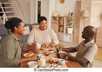desayuno, hogar, african - american, familia , el gozar