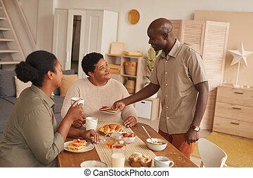 desayuno, mañana, african - american, familia , el gozar