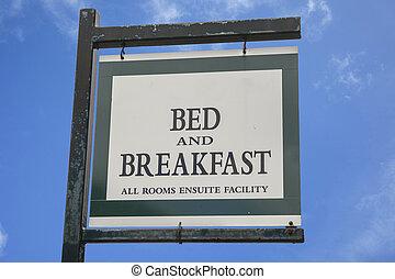 desayuno, señal, cama