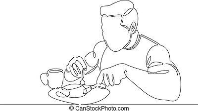 desayuno, tiene, té, tostada, tipo, coffee., continuo, bebidas, comida, línea, lifestyle., desayuno, uno, sano, solo, atlético, juice., café, mañana, carácter, huevos fritos, hombre, mesa.
