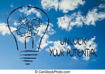 Desbloquea tu potencial, bombilla con engranajes