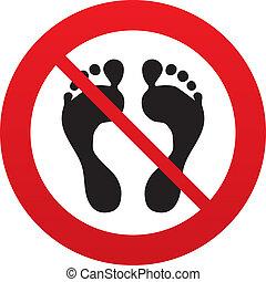 descalzo, no, símbolo., señal, humano, huella, icon.