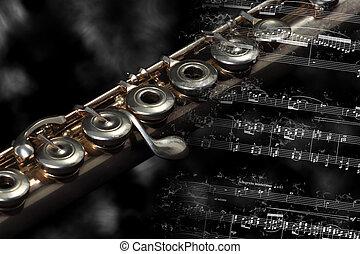 descansar, instrumento música, plata, raya, flauta, llameante