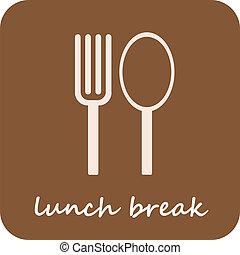 Descanso de almuerzo: icono del vector aislado