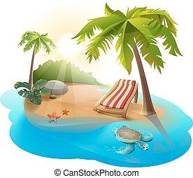 Descanso de verano. Salón de Chaise bajo la palmera