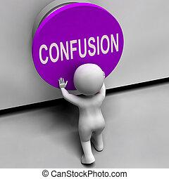 desconcertado, perplejo, medios, confusión, botón, desconcertado