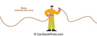 desconecte, caricatura, individuo del cable, ilustración, vector, asimiento, internet, plano, quitado