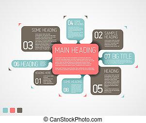 descriptivo, diagrama, vector, vario, retro, plantilla, burbujas
