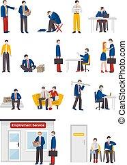 desempleado, conjunto, caracteres, gente