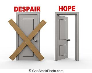desesperación, esperanza, puertas, 3d