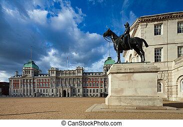 desfile, londres, edificios, caballo, reino unido, guardias