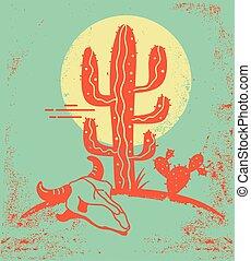 desierto, cráneo, arizona, silueta, amarillo, vendimia, vaca, sol, paisaje, papel, cactus, skull., textura, viejo