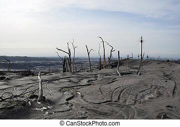 Desierto después de la erupción del volcán