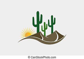 desierto, logotipo, occidental, cacto, ilustración