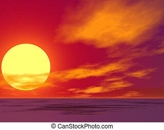 desierto, salida del sol, rojo