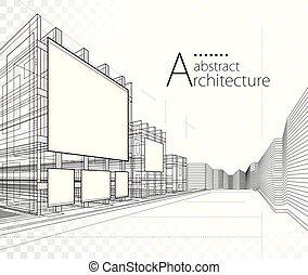 design., ilustración, arquitectura, edificio, 3d, construcción