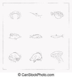design., sello, otro, fauna, símbolos, conjunto, tela, línea, app, puerto, estilo, su, móvil, carpa, iconos, logotipo, sardina