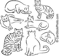 designs-set, línea, 3, gato