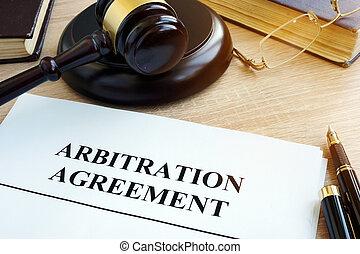 desk., arbitraje, acuerdo, disputas, resolución, comercial
